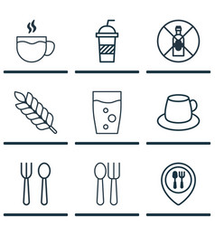 set of 9 restaurant icons includes soda soda vector image