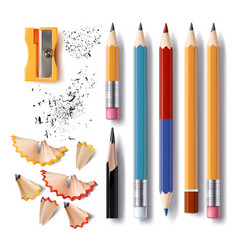 Set of sharpened pencils of various lengths vector