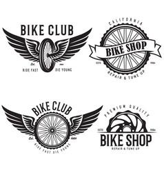 Set of vintage and modern bike shop logo badges vector