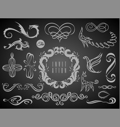 set vintage decorations elementsflourishes vector image