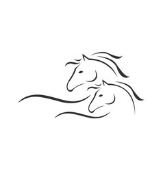 silhouette 2 horse logo template design on vector image