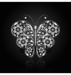 Silver butterfly with floral pattern vector