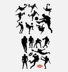 soccer and american football sport silhouettes vector image