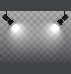 spotlight shining with white light on corners vector image