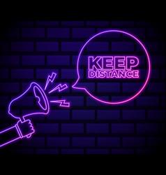 stop coronavirus neon sign with keep distance vector image