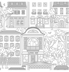 Street and building in city seamless pattern vector
