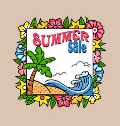 summer sale palm tree square banner vector image