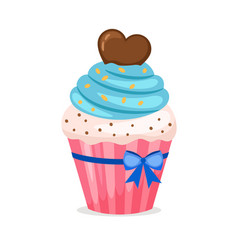 Sweet cupcake with blue frosting vector