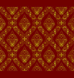 thai golden pattern on red background vector image