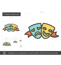 Theater masks line icon vector image
