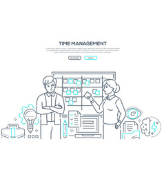 time management - modern line design style banner vector image
