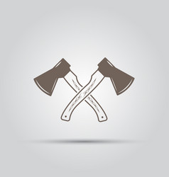 Two crossed hatchets isolated elements vector