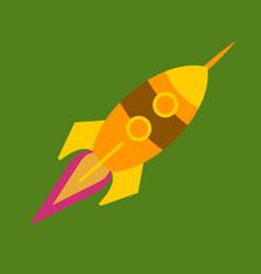 Upward rocket with round window vector