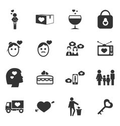 Valentine day icons set vector