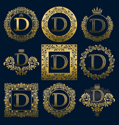 Vintage monograms set of d letter vector