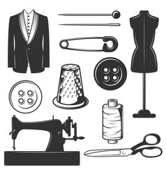 Vintage tailor icons symbols set vector