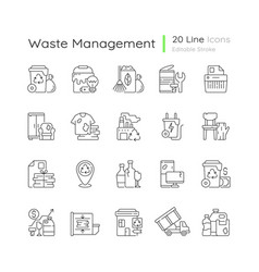 Waste management linear icons set vector