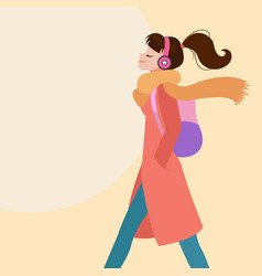 woman walking listening to music on headphones vector image