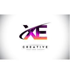 Xe x e grunge letter logo with purple vibrant vector