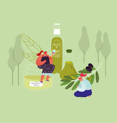 young women use olive oil for cosmetics beauty vector image