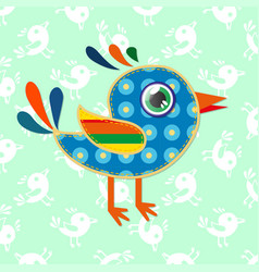 a cartoon sparrow with colorful textures vector image