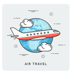 air travel thin line concept vector image