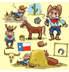 Cartoon cowboy set vector image