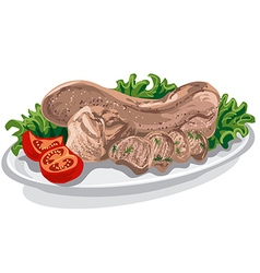 cooked veal tongue vector image vector image