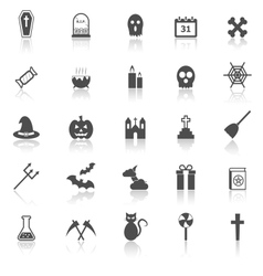 Halloween icons with reflect on white background vector image vector image