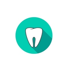 White tooth icon flat with long shadow vector image vector image