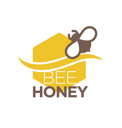 bee honey logo design with insect isolated vector image