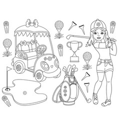 black and white golf set vector image