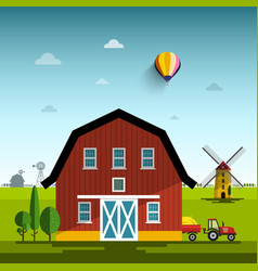 farm cartoon flat design rural scene with vector image vector image