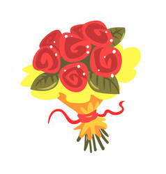 red roses bouquet cartoon vector image
