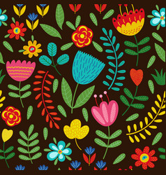 seamless pattern with flowers on black background vector image vector image