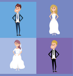 Set bried and groom marry style vector