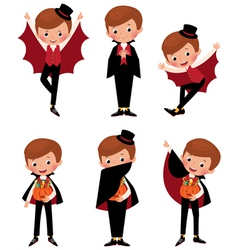 Set of Halloween vampire in various poses vector image vector image
