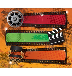 Set of three movie banners on grungy background vector image