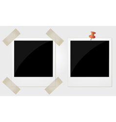 Two polaroid photos taped and pinned vector image vector image