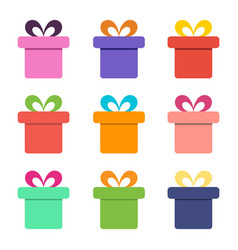 colorful gift box icons vector image vector image