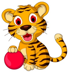 cute baby tiger posing with pink ball vector image vector image