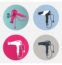 Hair drier icon set Blow hairdryer with two pin vector image