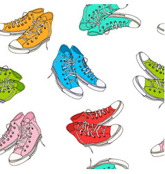 hand drawn sneakers seamless pattern vector image