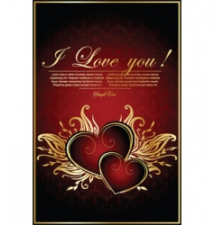 vintage red background with hearts vector image vector image