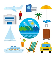 icons of tropical resort vector image