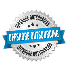 Offshore outsourcing round isolated silver badge vector