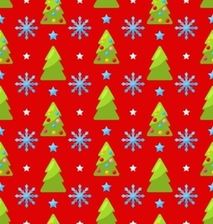 Red seamless Christmas pattern green fir vector image vector image