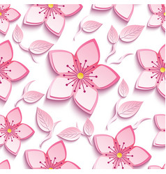 seamless pattern with pink sakura and leaf vector image vector image