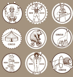 Sketch circus lables and logotypes vector image