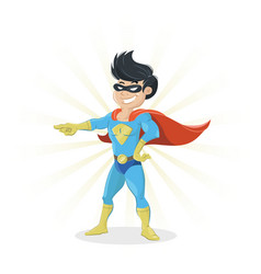 Young super hero showing finger vector